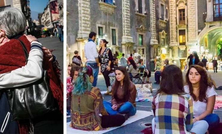 A Catania abbracci al buio e sguardi intensi per ritrovare il contatto con gli altri