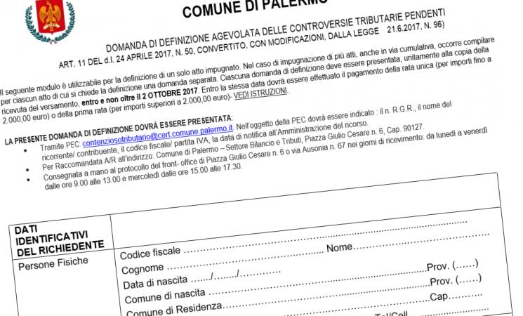 Palermo, definizione agevolata delle controversie tributarie pendenti